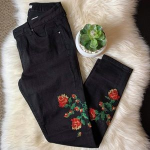 H&M floral embroidered jeans